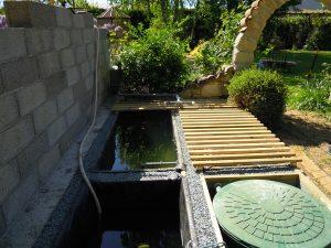 Protectiondes bassins avec des claies.