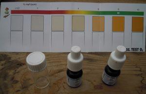 L'échelle colorimétrique pour des valeurs de 0 à 10 mg d'oxygène par litre d'eau.