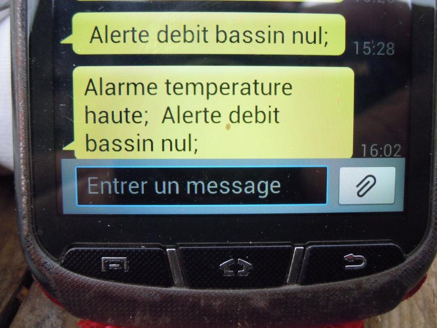 Exemple de messages d'alertes reçus par SMS sur un téléphone portable